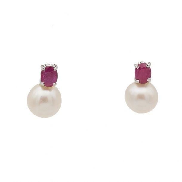Pendientes de oro blanco, perlas  y...