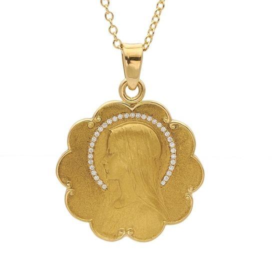 Medalla de oro amarillo y diamantes