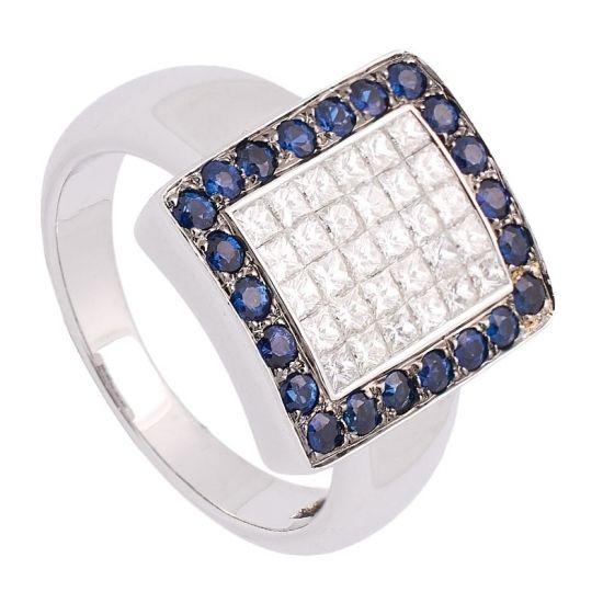 Sortija de oro blanco diamantes y...