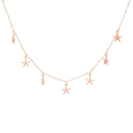 Cadena de oro rosa con estrellas.
