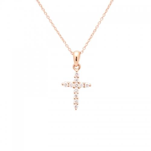 Cadena de oro rosa con cruz...