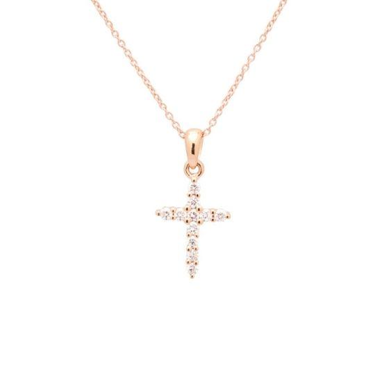 Cadena de oro rosa con cruz de...