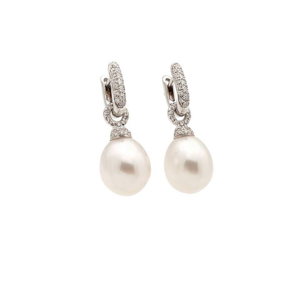 Pendientes de oro blanco, perlas...