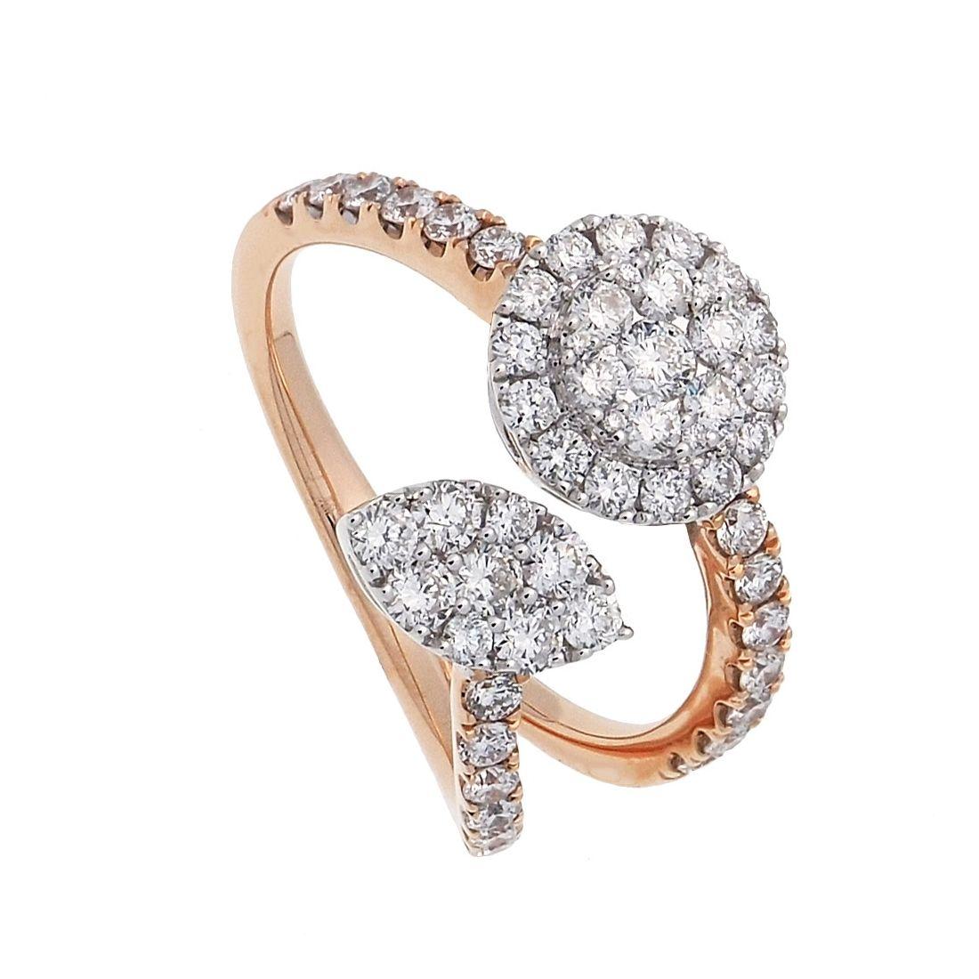 Sortija oro rosa y blanco con diamantes