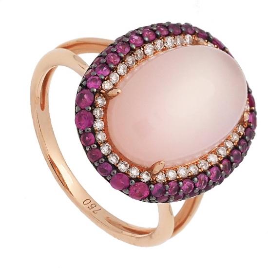 Sortija de oro rosa, cuarzo diamantes...