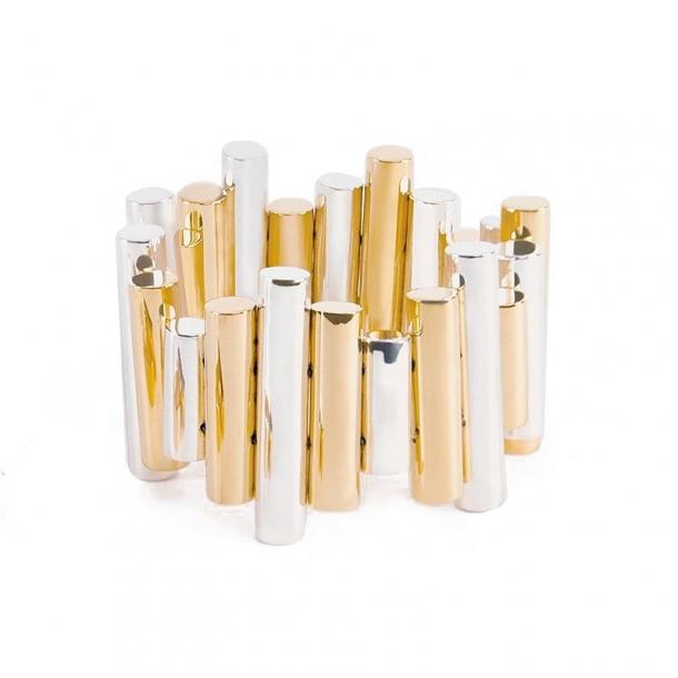 Pulsera Trípoli de cilindros en plata y oro - 310668
