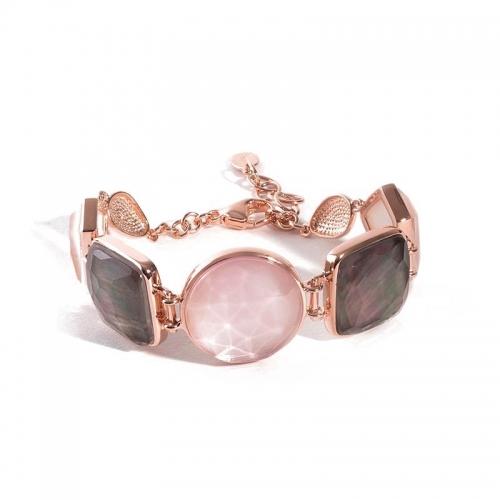 Pulsera Castilla plata y oro rosa - 380609
