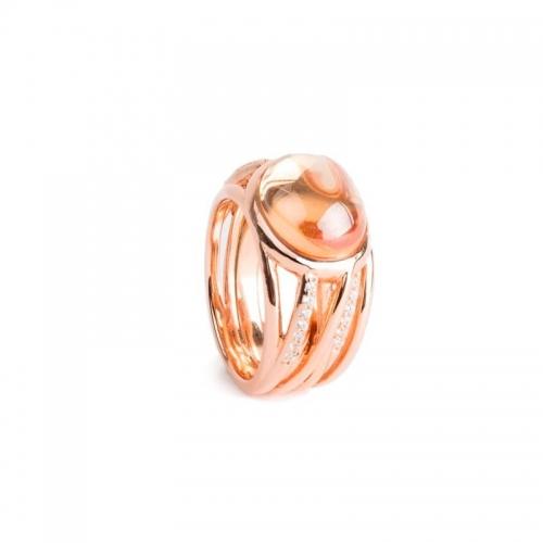 Anillo Rosa del Mar de plata y oro rosa - 373885