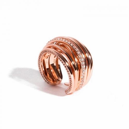 Anillo Dolce Vita de plata y oro rosa - 373915