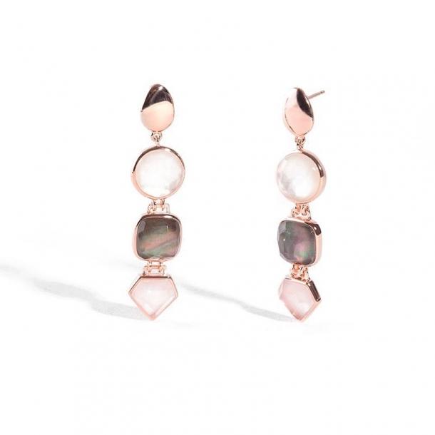 Pendientes Castilla en plata y oro rosa - 380616