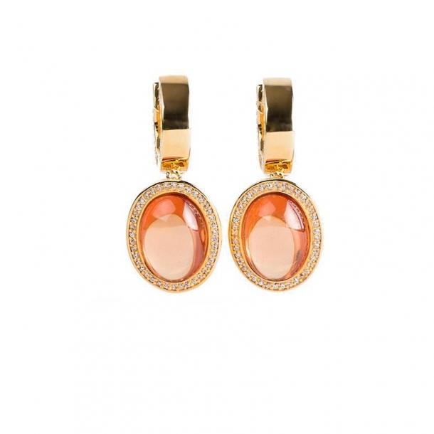 Pendientes Rosa del Mar de plata y oro rosa - 373885