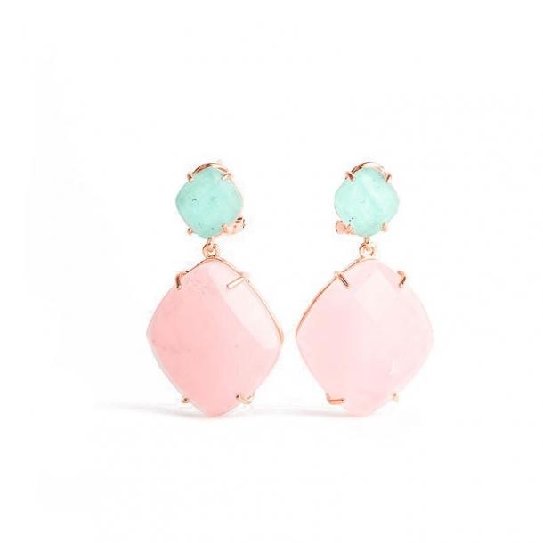 Pendientes Isla Margarita de plata y oro rosa - 370501