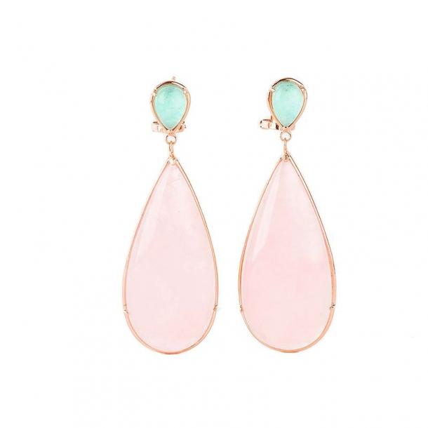 Pendientes Isla Margarita de plata y oro rosa - 370525