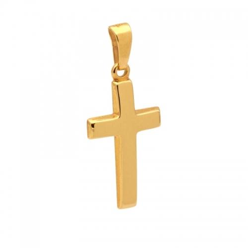 Cruz hueca de oro amarillo