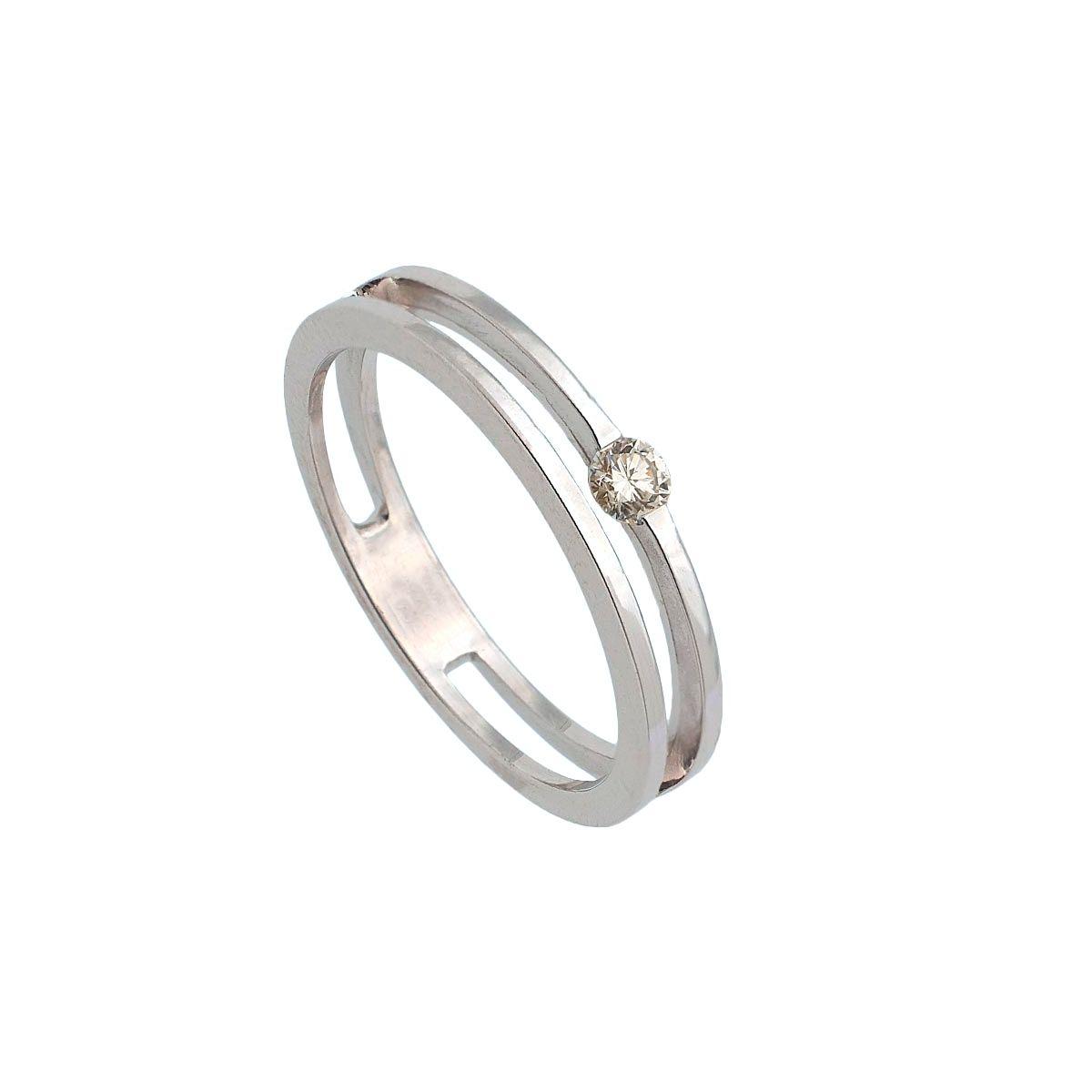 Sortija de oro blanco con dos anillos...